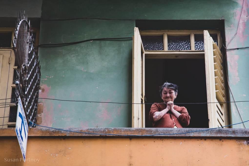 Maria Therésa on her balcony in Havana Cuba
