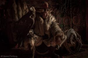 Portrait of Shohan the eagle hunter in Mongolia