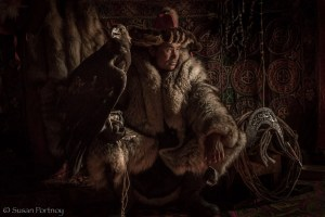Portrait of Shohan the eagle hunter in Mongolia