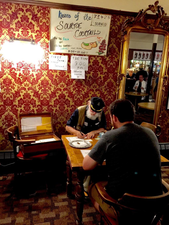SourToe Challenge. Sourdough Saloon in Dawson, City