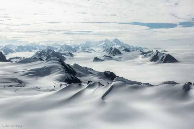 View of many of the peaks in Kluane National Park.--Kaskawulsh glacier in Yukon's Kulane National Park-1153