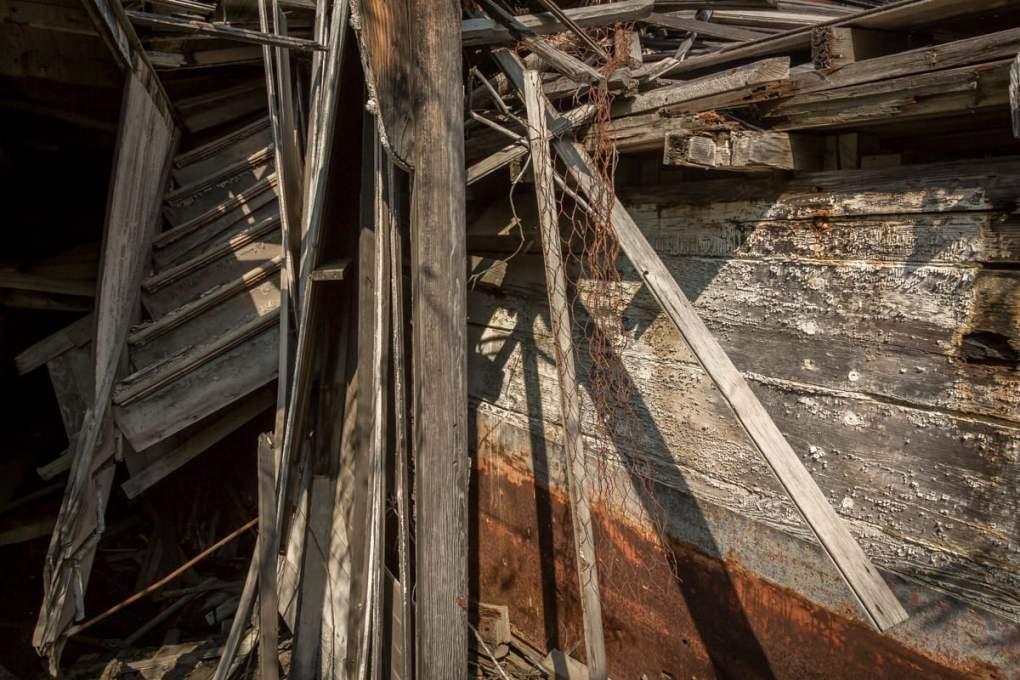 Stairs and pieces of wreckage -- Exploring Sternwheeler Graveyard Dawson City, Yukon