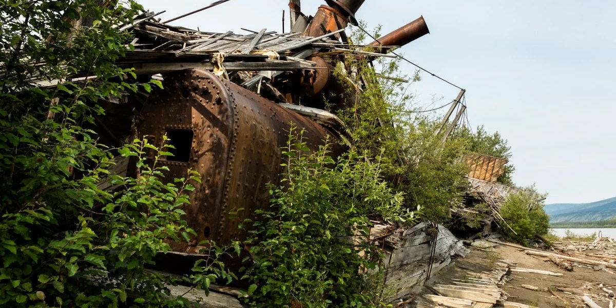 Boiler room - Exploring Sternwheeler Graveyard Dawson City, YT