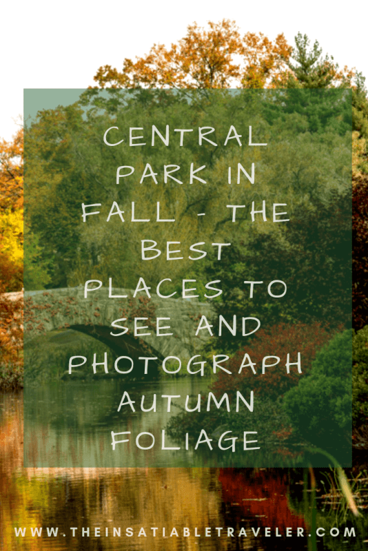 Central Park in Fall. If you're in NYC and want some gorgeous autumn views, check out my favorite places to see and take pictures of Central Park in the Fall. Plus a handy-dandy interactive map. #CentralParkPhotography #CentralParkFall #CentralParkAutumnPhotography #CentralParkAutumnleaves #newyorkcitycentralparkphotography
