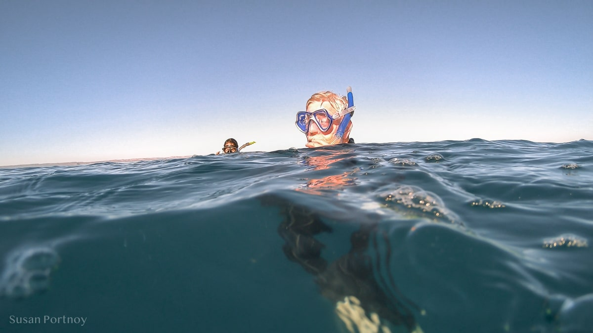 Snorkeler in the water in the Bay of La Paz, Mexico