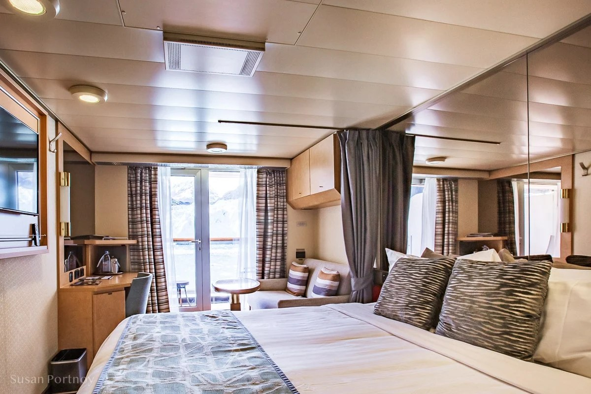 My Stateroom: 5117 with a private veranda and the Margerie Glacier in Glacier Bay through the window. - Holland Amercia Alaska Cruise