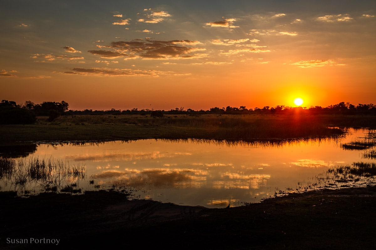 Beautiful sunset reflecting in a watering hole.