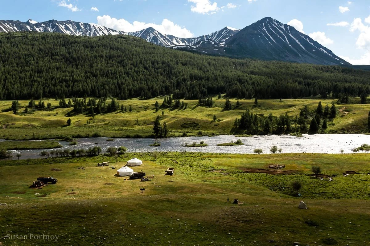 Breathtaking View of a family ger in the Altai Mountains in western Mongolia