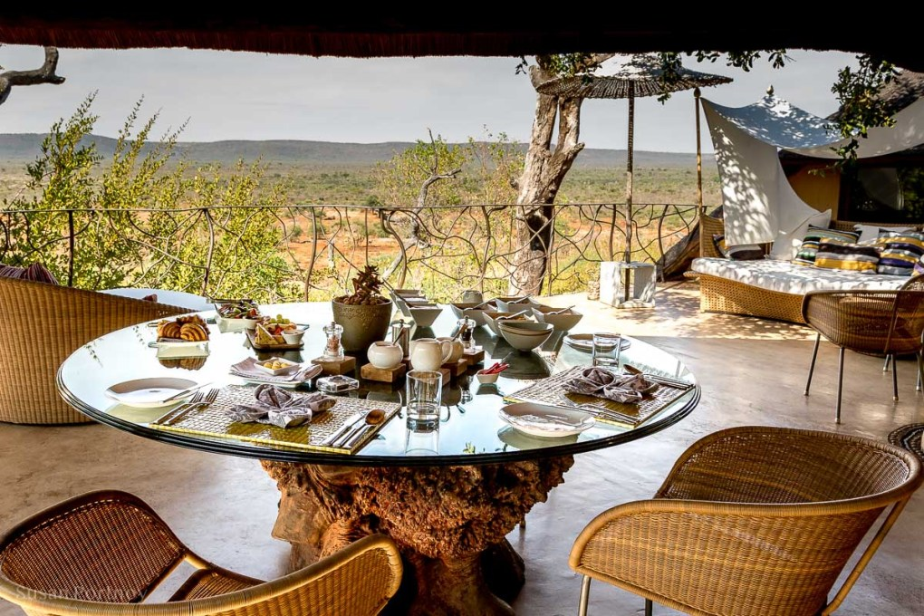 Breakfast on one of the many terraces at Molori Safari Lodge overlooking the bush in Madikwe