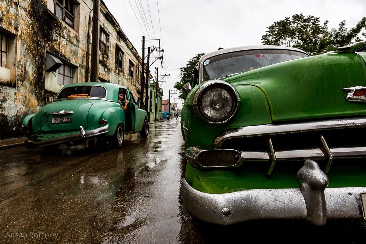 Two cars in Bejucal Cuba