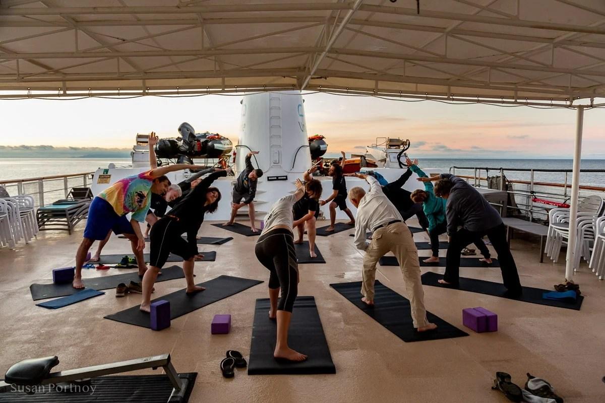 Morning yoga on the Safari Endeavor