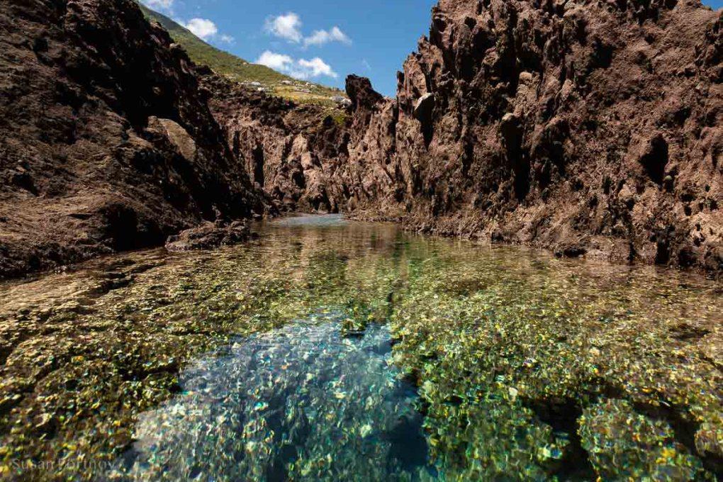 Tide pool in the lava flow on Saba Island