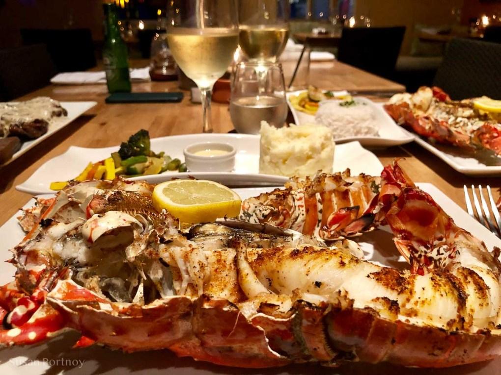 Amazing grilled Saban Lobster at Tropics Cafe on Saba Island