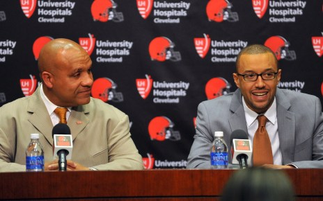 Cleveland Browns coach Hue Jackson and GM Sashi Brown