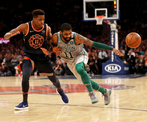 Boston Celtics guard Kyrie Irving (Feb. 24, 2018 - Source: Elsa/Getty Images North America)