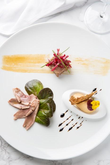 Anatra in Tre Versioni (Smoked Duck Breast, Duck Rilette, Foie Gras Ice Cream)