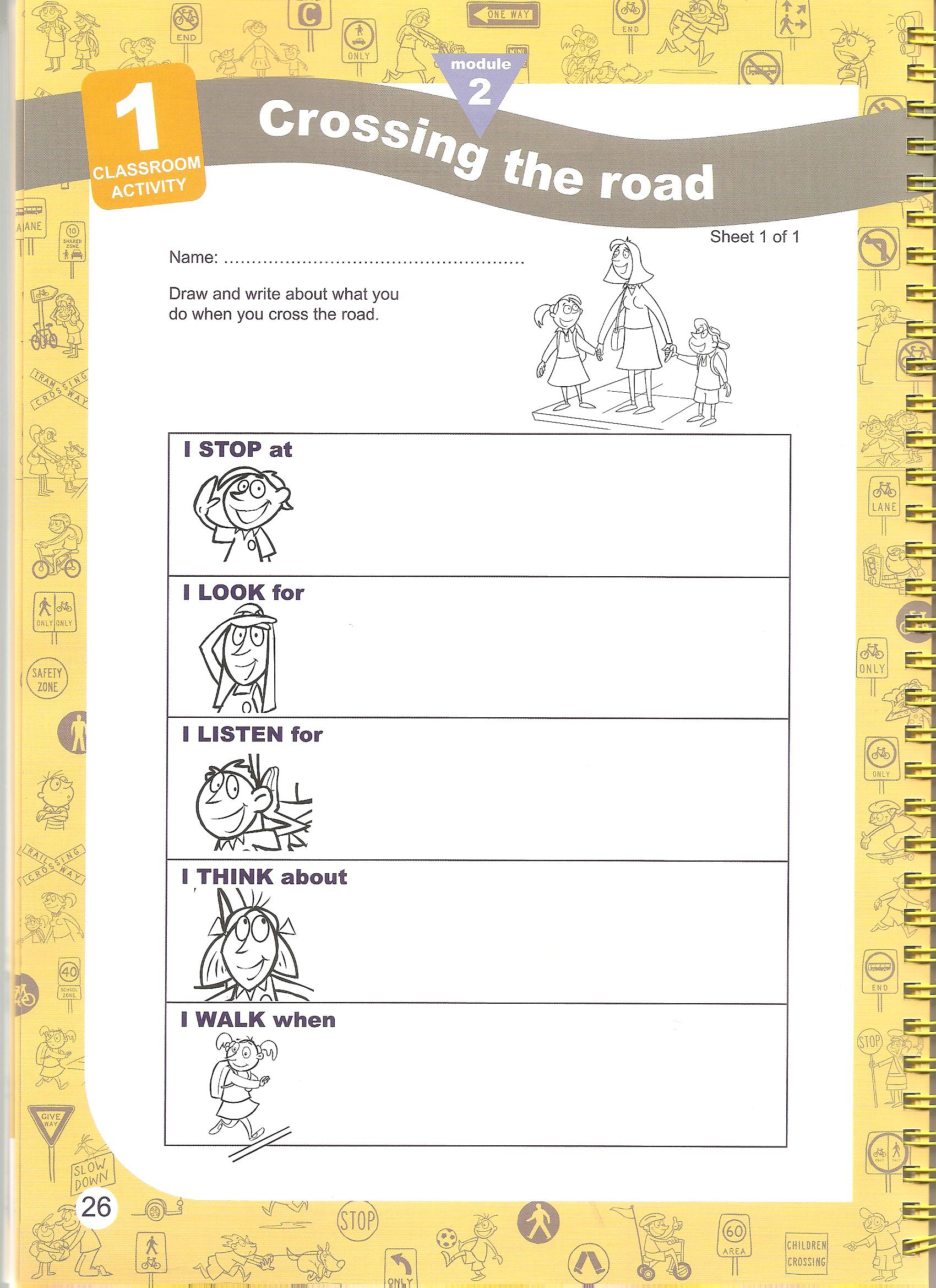 Street Crossing Safety Worksheets