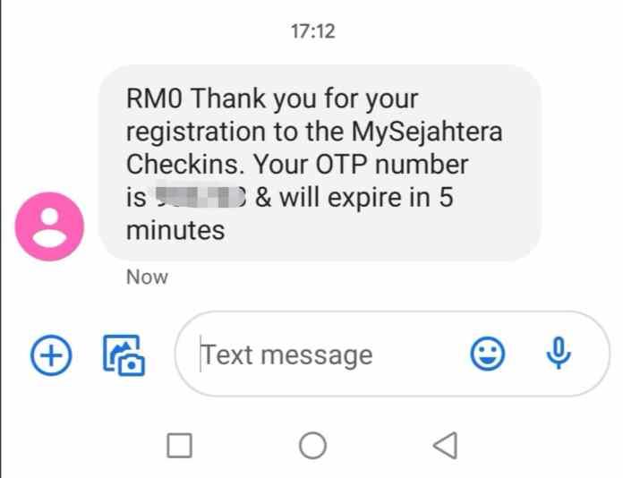 Cara Daftar Qr Code MySejahtera (Kod OTP melalui SMS)