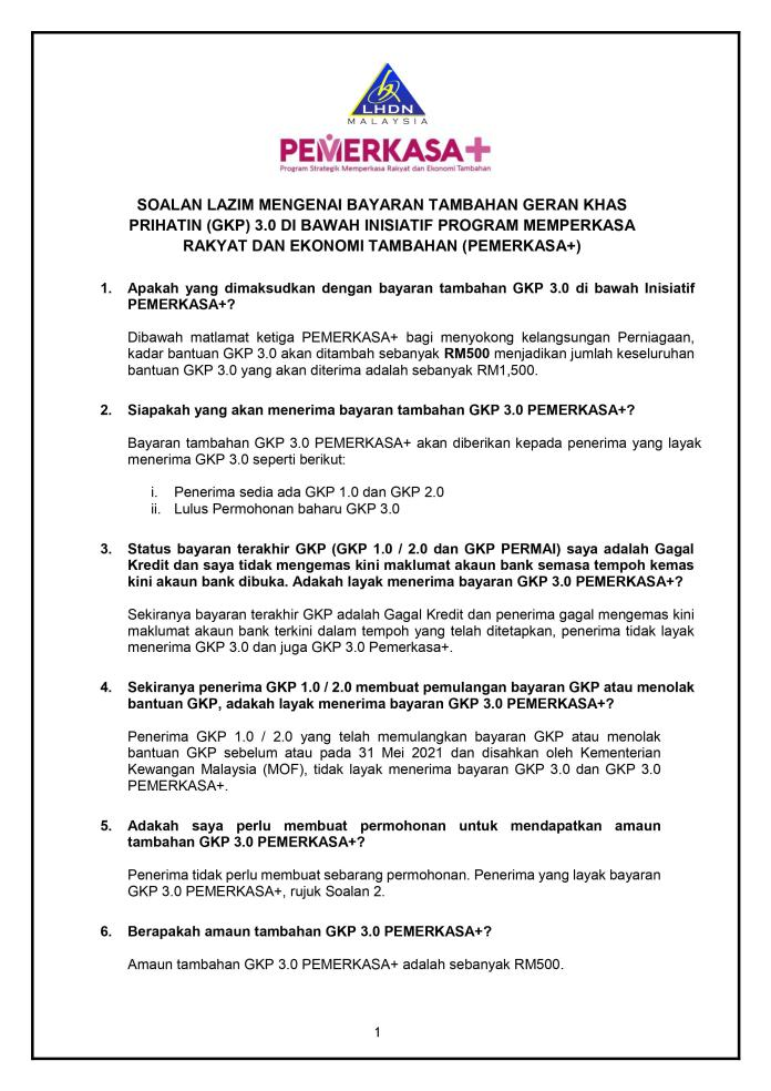 Soalan Lazim GKP PEMERKASA+1
