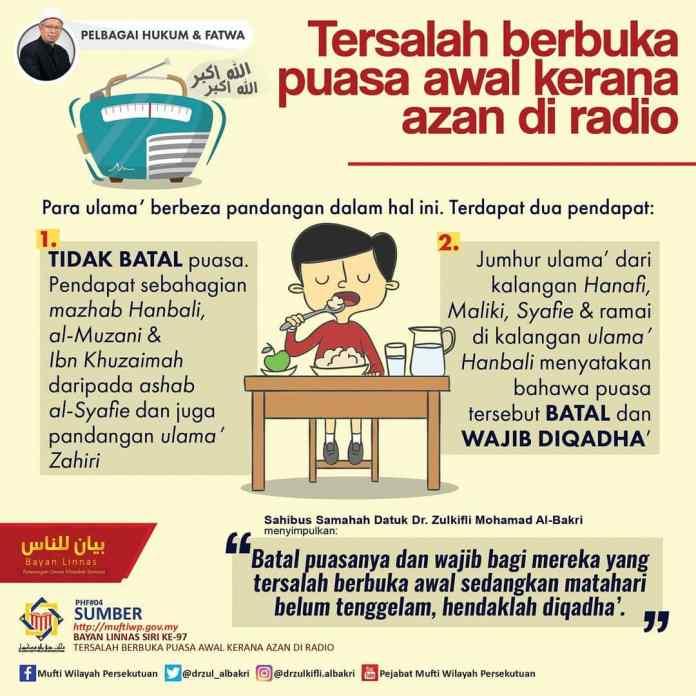 Tersalah buka puasa awal kerana azan di radio