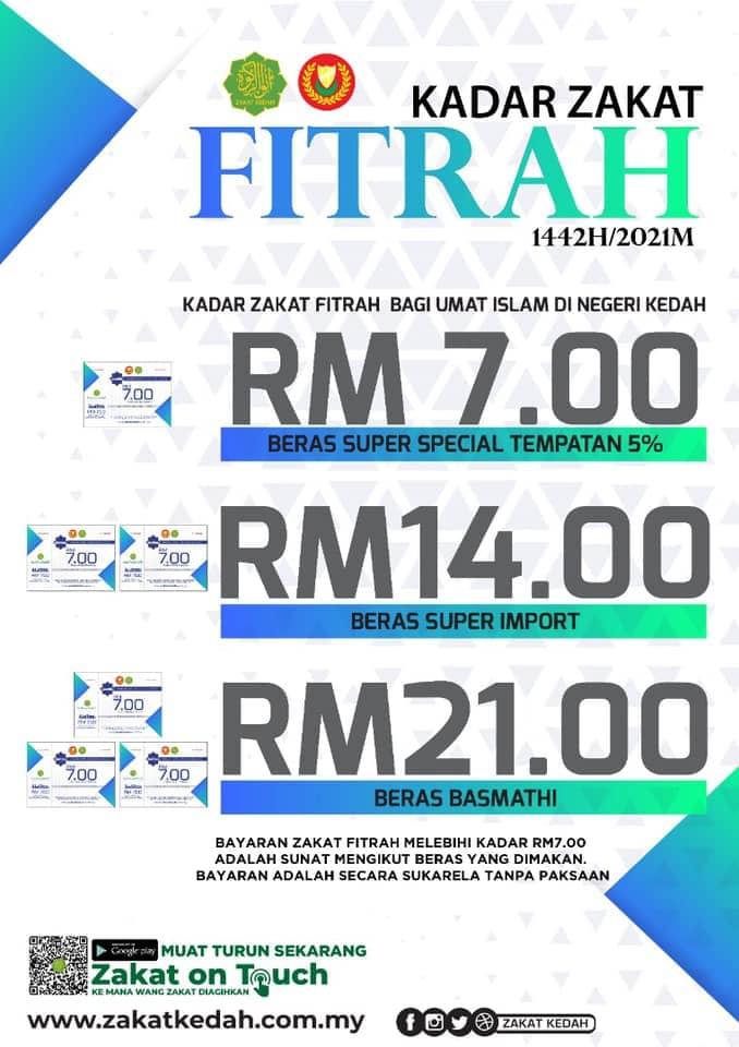 Kadar Zakat Fitrah Kedah 2021