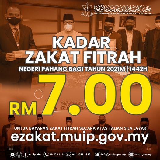 Kadar Zakat Fitrah Negeri Pahang 1442H -2021M