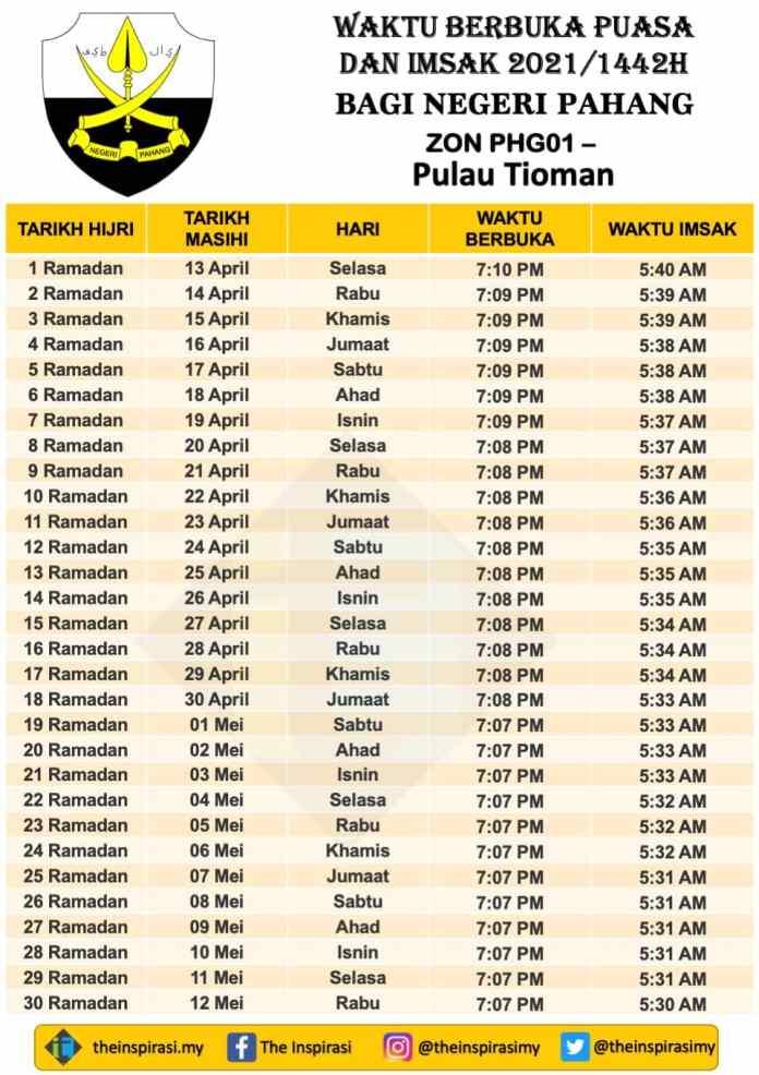 Pahang Zon 1- Pulau Tioman - Waktu Berbuka Puasa dan Imsak 2021