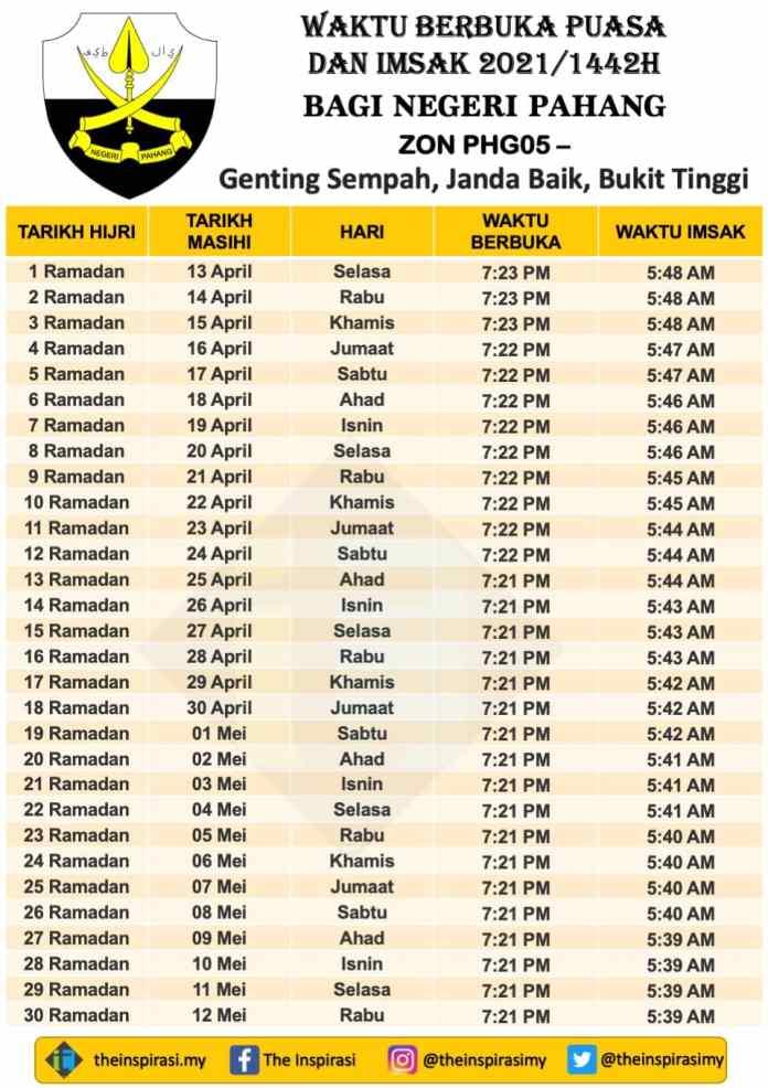 Pahang Zon 5- Genting Sempah - Janda Baik - Bukit Tinggi - Waktu Berbuka Puasa dan Imsak 2021