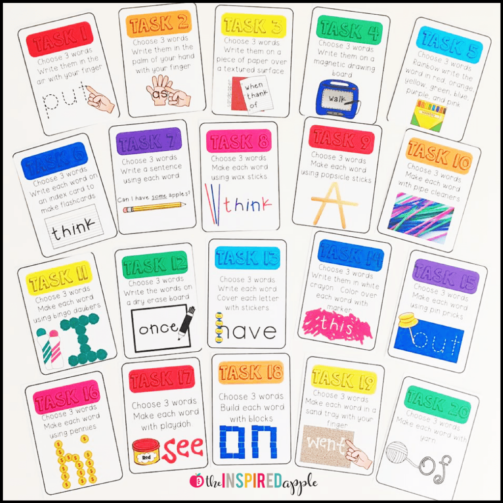 20 Task Cards For Handwriting Sight Word And Spelling Practice