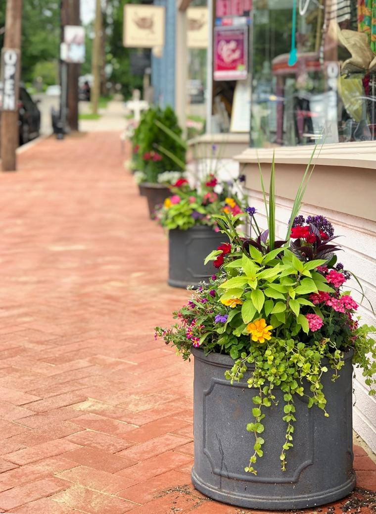 Container gardens in front of Retail Therapy in Maplewood New Jersey