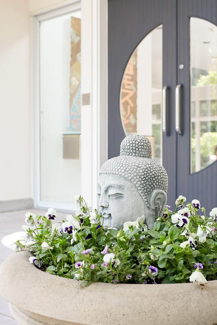 Buddha statue Fall European Garden client story Short Hills New Jersey