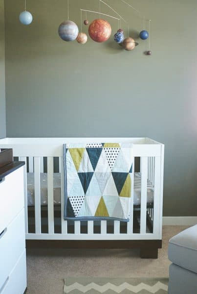 Nursery tour with planet mobile and triangle quilt