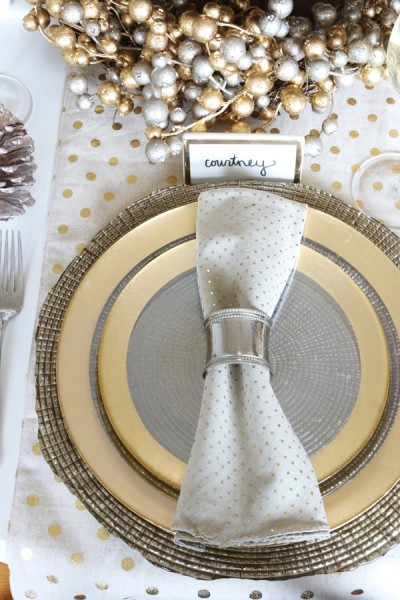 Silver and Gold Place Setting - The Inspired Room Cozy Glam Tablescape