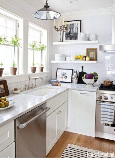 Kitchen Layout - White Kitchen Sink by Stove - House Beautiful