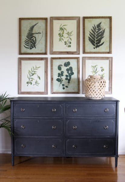 The Inspired Room - Framed Botanical Artwork and Gray Dresser