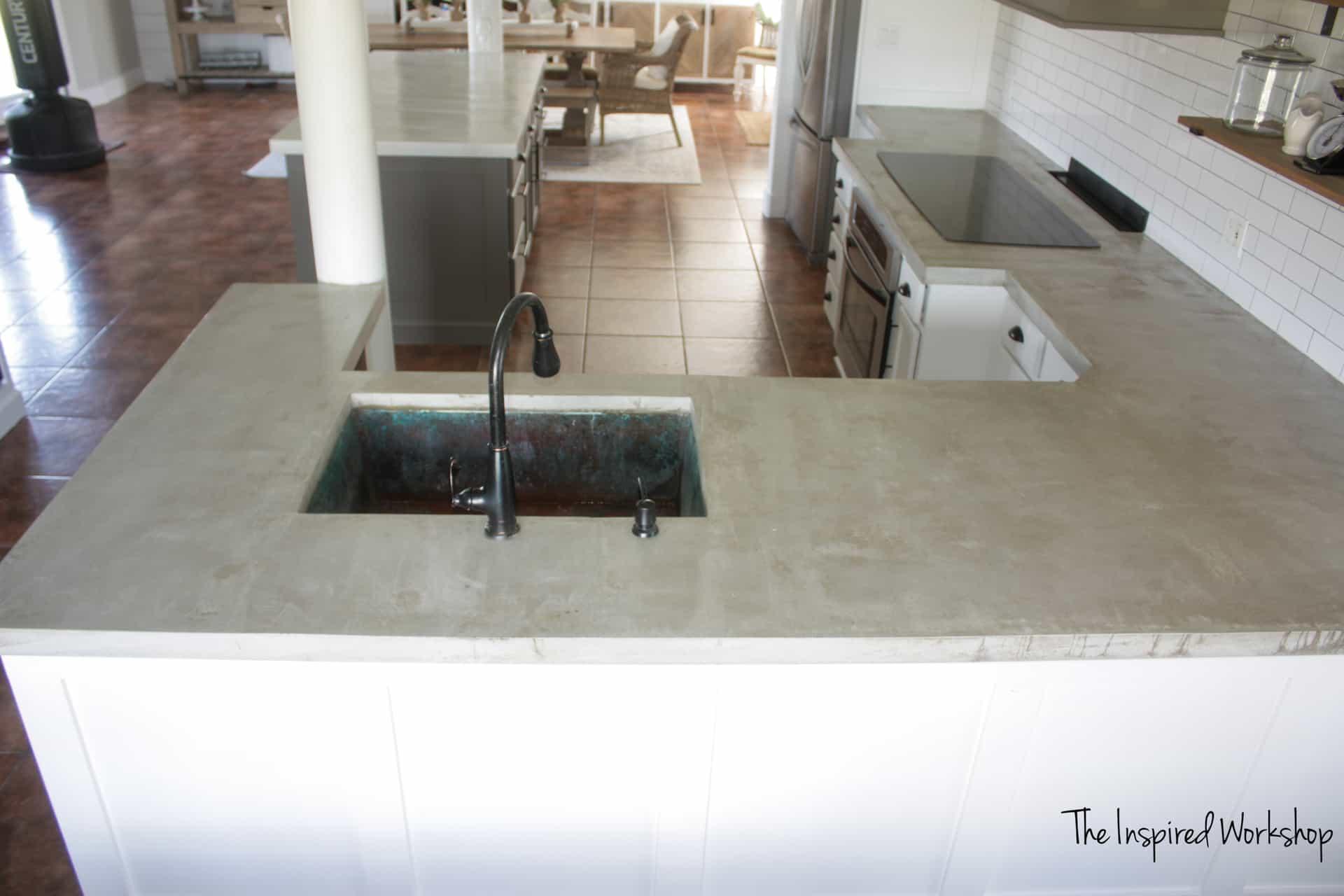 diy concrete countertops pour in