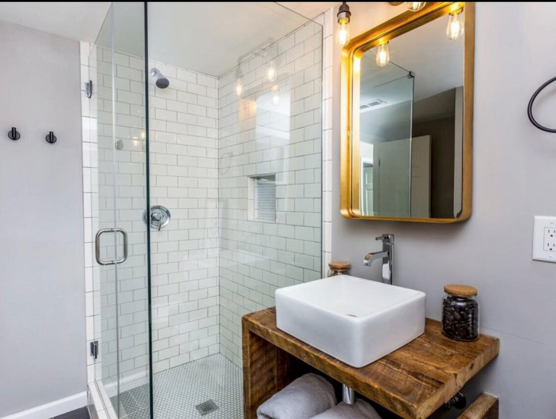 modern bathroom remodel mixing . metals subway tile vessel sink wayfair industrial reclaimed wood