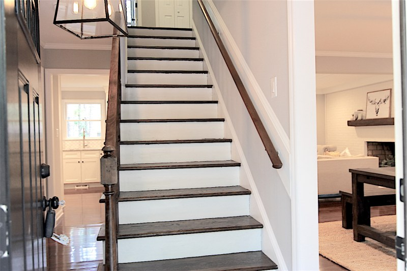 entry after renovation cary stair treads staircase house flip flipping houses