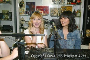Actors Sarah Stouffer and Amy Okuda participate in The IntelleXual podcast prior to the Chastity Bites DVD signing at Dark Delicacies in Burbank, CA on Feb. 16, 2014. Photo/Carla Van Wagoner-The IntelleXual