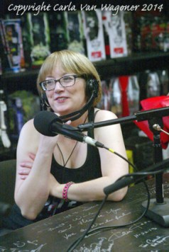 Writer and producer Lotti Pharriss Knowles participates in The IntelleXual podcast prior to the Chastity Bites DVD signing at Dark Delicacies in Burbank, CA on Feb. 16, 2014. Photo/Carla Van Wagoner-The IntelleXual