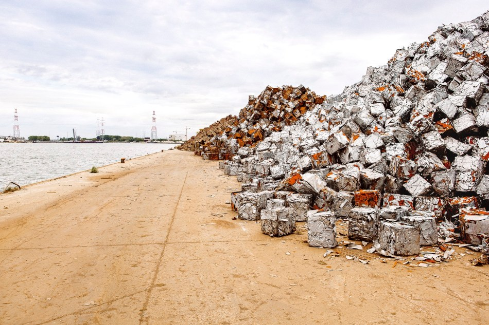 Cubes of scrap metal waiting to be shipped