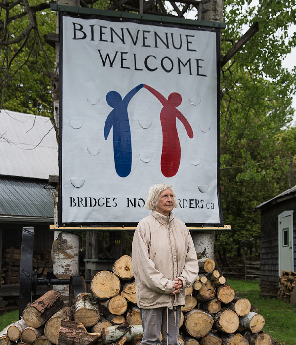 Susan Heller is a resident of Hemmingford, Quebec who owns and operates a small farm on Roxham Road. She is a member of Bridges Not Borders, a volunteer group of neighbors that formed last fall and visits the US side of Roxham Road weekly to offer warm clothes and encouragement to refugees crossing the border. (Scott Heins)