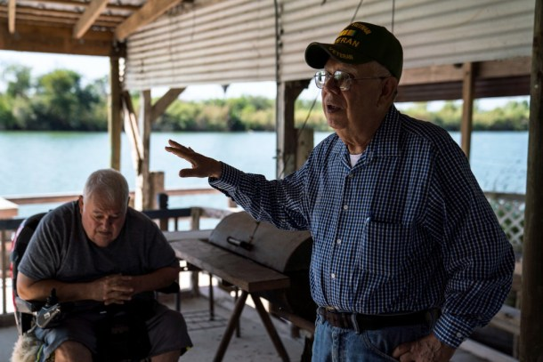 Fred Cabazos, 69, left, and his cousin Reynaldo Anzaldúa, 73, right, in Fred's property in the Rio Grande riverbank in Mission, Tex. on Nov. 6, 2018.Photo: Verónica G. Cárdenas for The Intercept
