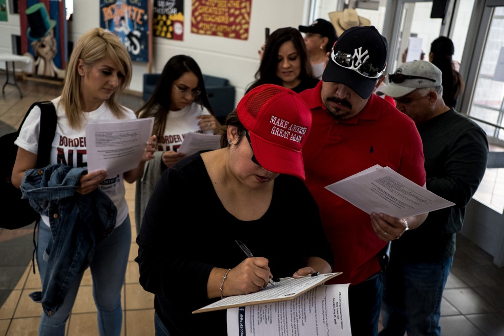Trump supporters sign up to ask questions during a town hall meeting with Congresswoman Veronica Escobar at Canutillo High School in El Paso, Texas, Saturday, May 11, 2019. (Joel Angel Juárez for The Intercept)