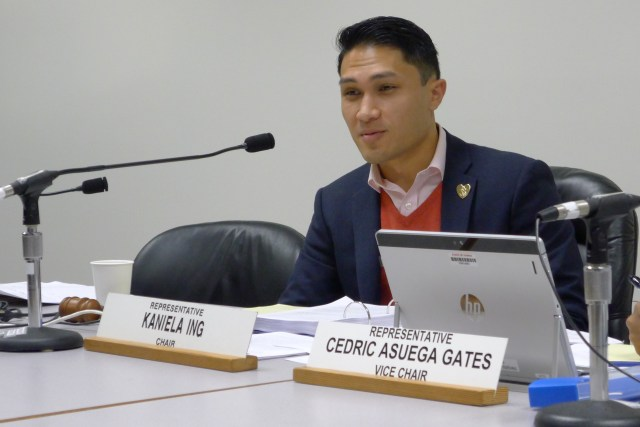 Hawaii Rep. Kaniela Ing speaks at a legislative hearing on Tuesday, Feb. 14, 2017 in Honolulu. Ing and other lawmakers are calling for more oversight of the commercial fishing industry after an Associated Press investigation found hundreds of foreign fishermen confined to boats and some living in subpar conditions. A bill would require fishing boat owners who want a commercial license to provide to the state a copy of the employment contracts with every fisherman before the license is granted. (AP Photo/Cathy Bussewitz)