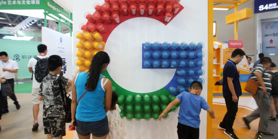 Google China Prototype Links Searches to Phone Numbers CHONGQING  CHINA   AUGUST 23  People visit the Google pavilion during the  Smart China
