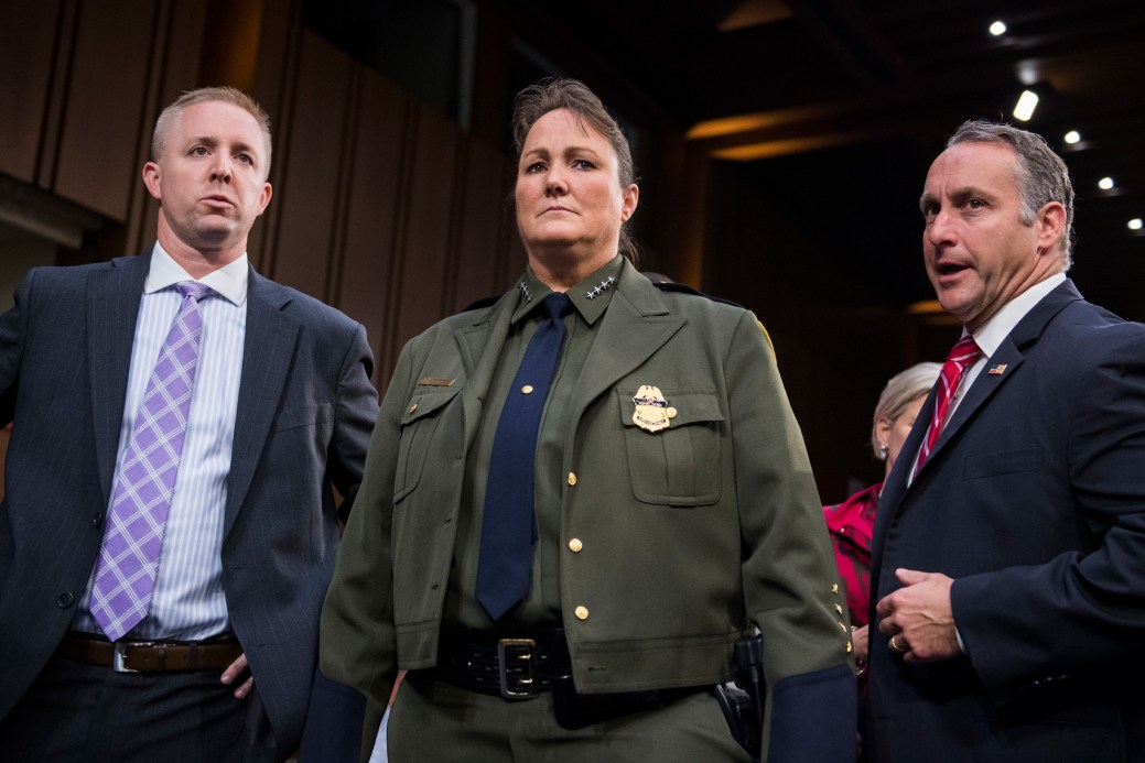 "UNITED STATES - JULY 31: Carla L. Provost, acting chief of the U.S. Border Patrol, and Matthew T. Albence, right, executive associate director for Enforcement and Removal Operations, U.S. Immigration and Customs Enforcement (ICE), arrive for a Senate Judiciary Committee hearing in Hart Building titled ""Oversight of Immigration Enforcement and Family Reunification Efforts,"" on July 31, 2018. (Photo By Tom Williams/CQ Roll Call) (CQ Roll Call via AP Images)"