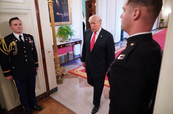 US President Donald Trump arrives for an event honoring the Immigration and Customs Enforcement and Customs and Border Protection services in the East Room of the White House in Washington, DC on August 20, 2018. (Photo by MANDEL NGAN / AFP)        (Photo credit should read MANDEL NGAN/AFP/Getty Images)