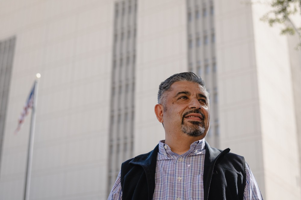 Public Defender Sergio Garcia outside of the El Paso County Detention Facility in downtown El Paso, Texas. October 29, 2020.