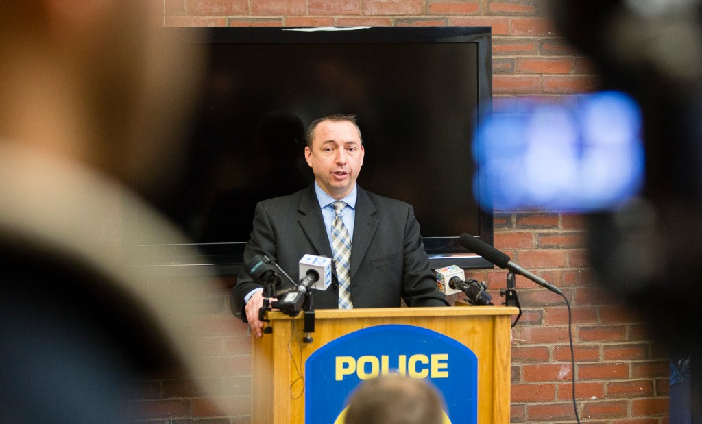 Portland Police Chief Michael Sauschuck makes a statement at the Portland Police Department, to members of the media, regarding a fatal shooting in Portland, ME on March 16, 2016.